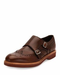 Salvatore Ferragamo Calfskin Double Monk Strap Loafer With Contrast Sole Tan