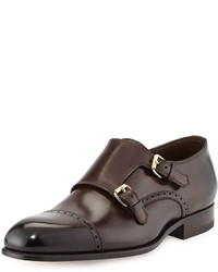 Tom Ford Charles Double Monk Shoe Dark Brown