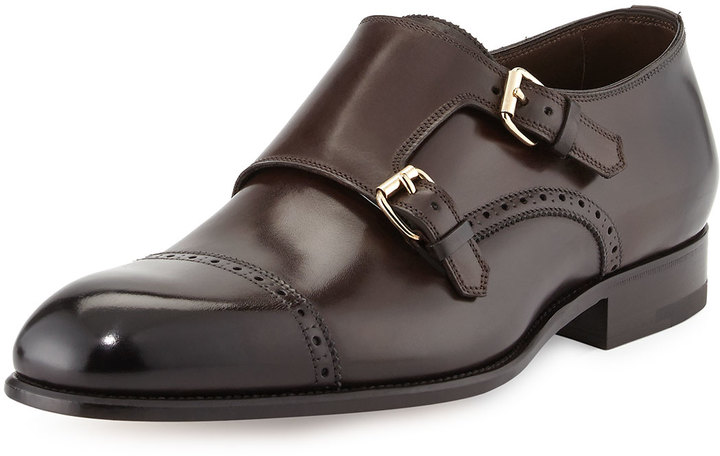 be18bec7fda2 ... Tom Ford Charles Double Monk Shoe Dark Brown ...