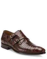 Mezlan Double Monk Strap Alligator Leather Dress Shoes