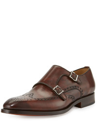 Magnanni Double Monk Wing Tip Leather Loafer Mid Brown