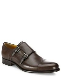a. testoni Leather Double Monk Strap Loafers