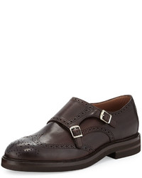 Leather monk strap wing tip loafer brown medium 337577