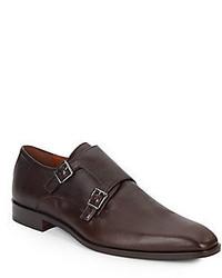 Saffiano Leather Monk Strap Shoes