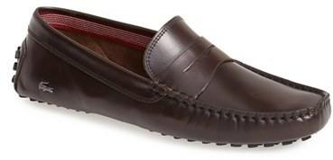 0a09bd385b99b ... Brown Leather Driving Shoes Lacoste Concours Driving Shoe ...