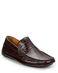 Saks Fifth Avenue Croc Embossed Leather Penny Loafers