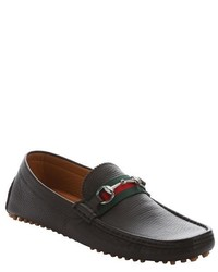 Gucci Dark Brown Leather Horsebit And Web Stripe Detail Loafers