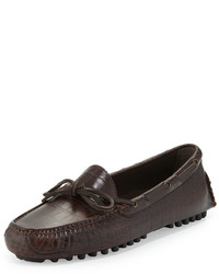 Men's Dark Brown Leather Driving Shoes