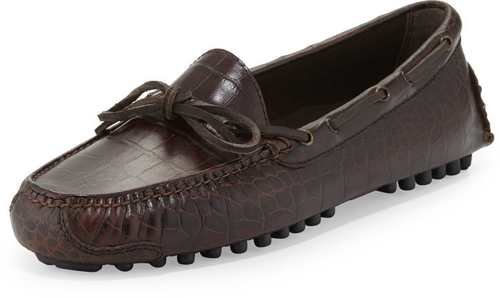 ... Shoes Cole Haan Gunnison Ii Croc Embossed Leather Driver Brown ...