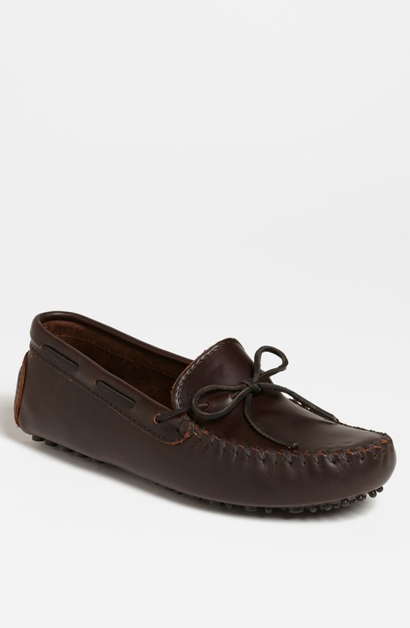 brown leather driving shoes minnetonka leather