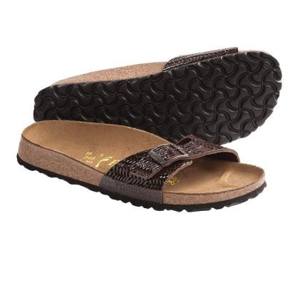e9f5c938c3e ... Dark Brown Leather Flat Sandals Birkenstock Papillio By Madrid Sandals  Patent Leather Brown