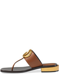 f80374089e52 ... Gucci Marmont Logo Leather Thong Sandal Cuir ...