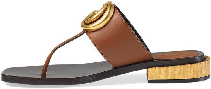 49c6150cb79fb Gucci Marmont Logo Leather Thong Sandal Cuir