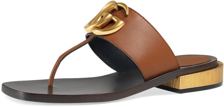 b7ec724d2 ... Brown Leather Flat Sandals Gucci Marmont Logo Leather Thong Sandal Cuir  ...