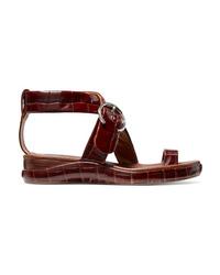 Chloé Wave Croc Effect Leather Platform Sandals