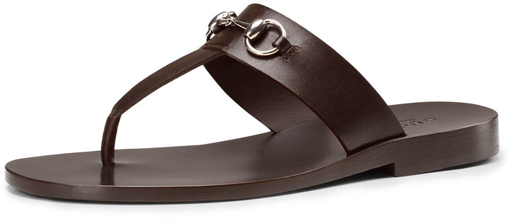 98fb89307a16 ... Gucci Leather Horsebit Thong Sandal Brown ...