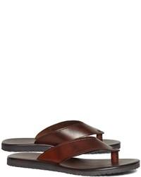 Brooks Brothers Wide Strap Leather Flip Flops