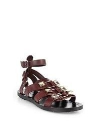 Dark Brown Leather Gladiator Sandals