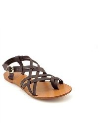 All Black Twin Straps Brown Leather Gladiator Sandals Shoes