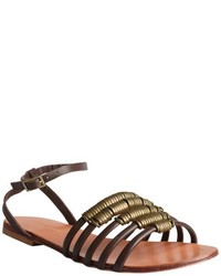 Madison Harding Brown Leather Arty Cage Flat Sandals