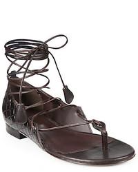 Bottega Veneta Lace Up Leather Gladiator Sandals