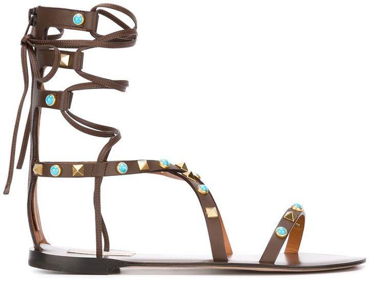 247aab63b11 ... Leather Gladiator Sandals Valentino Rockstud Rolling Gladiator Sandals