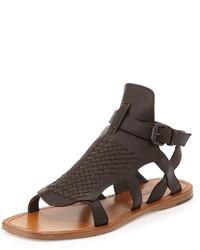 Bottega Veneta Woven Leather Gladiator Sandal Espresso
