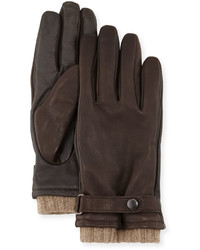 Neiman Marcus Belted Leather Tech Gloves Brown