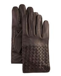 Bottega Veneta Woven Leather Gloves Dark Brown