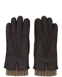 Loro Piana Brown Leather And Baby Cashmere Stirling Gloves