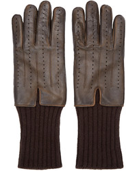 Haider Ackermann Brown Leather Cashmere Gloves