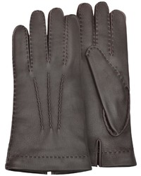 Cashmere lined brown italian deer leather gloves medium 387534