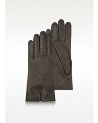 Cashmere lined dark brown italian leather gloves medium 98075