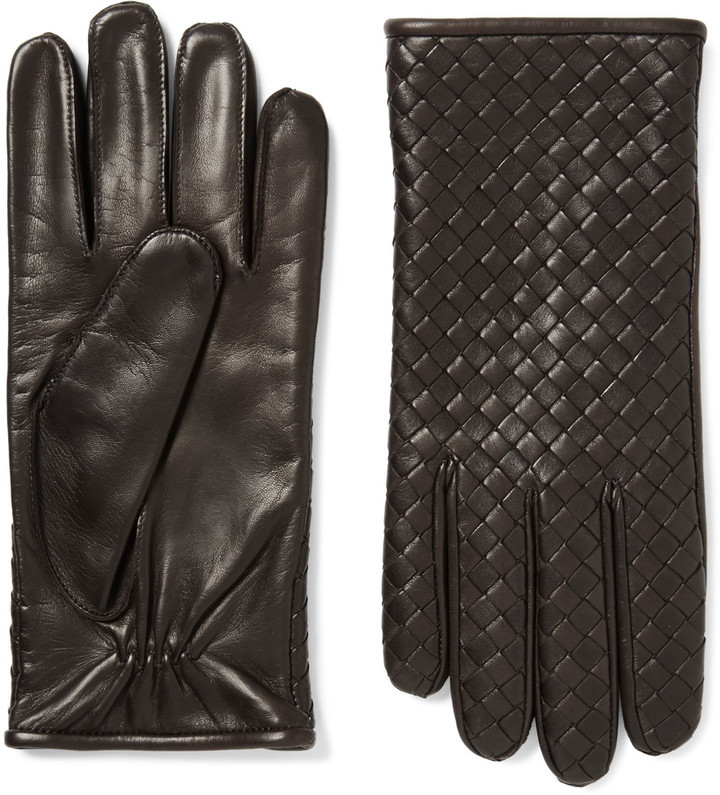17cc3768cc923 Bottega Veneta Cashmere Lined Intrecciato Leather Gloves, $550 | MR ...