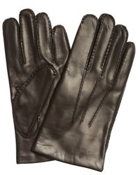 Portolano Chocolate Brown Nappa Leather Seamed Detail Cashmere Lined Gloves