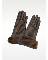 Dark brown italian nappa leather gloves wmink fur medium 98074
