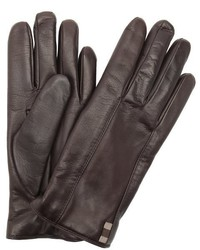 Gucci Dark Brown Leather Cashmere Lined Gloves
