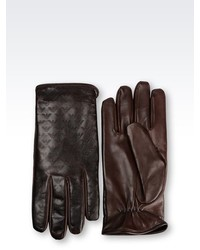 Emporio Armani Glove In Logo Patterned Napa Leather