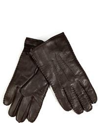 Polo Ralph Lauren Leather Gloves In Dark Brown