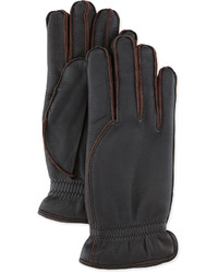 Loro Piana Leather Gloves With Cashmere Lining Dark Brown