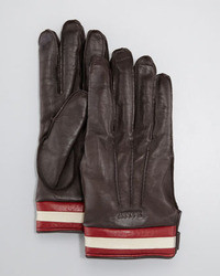 Bally Leather Gloves With Striped Trim Chocolate