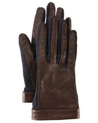 Lanvin Leather Wool Driving Gloves Dark Gray