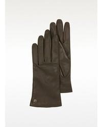 Moreschi Dark Brown Leather Gloves Wcashmere Lining