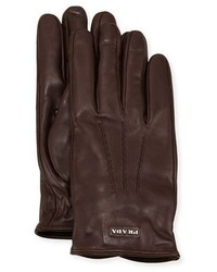 Prada Napa Leather Gloves W Logo Brown