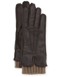 Loro Piana Nubuck Leather Cashmere Gloves