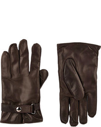 Barneys New York Snap Wrist Gloves Brown