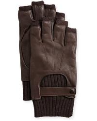 John Varvatos Wool Lined Leather Fingerless Gloves Chocolate