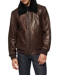 Dark Brown Leather Harrington Jacket