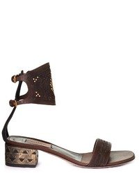 Valentino Laser Cut Leather Block Heel Sandals