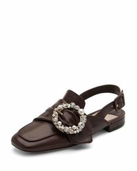 Pearly buckle leather slingback flat medium 1020711